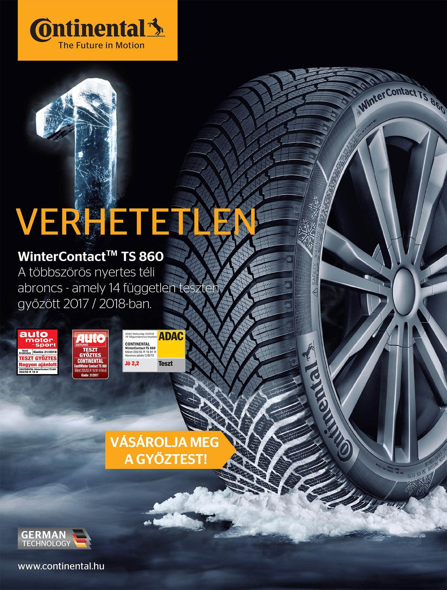 A Continental téli gumiabroncsa első helyet szerzett az AutoBild tesztjén